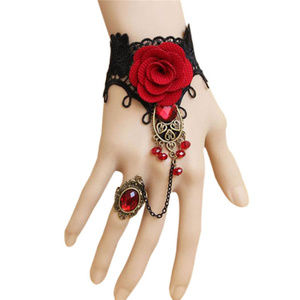 Jewelry - Gothic Style Lace Red Rose Bracelet with Ring